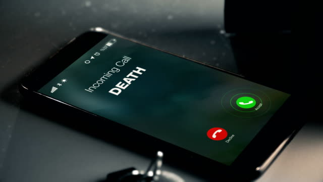 death is calling as a missed call - morte video stock e b–roll