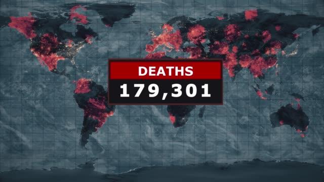 vídeos de stock, filmes e b-roll de mortes gráficas do vírus, novel coronavirus ncov se espalhando por todo o mundo, epidemia mundial de gripe se espalha por todos os continentes, infecção viral mortal global, visão de satélite das áreas afetadas pelo vírus da gripe. vídeo estoque - morte