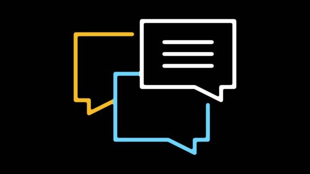 debate topics line icon animation with alpha - debate стоковые видео и кадры b-roll
