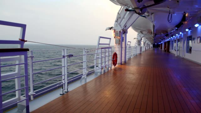 stockvideo's en b-roll-footage met deck with illumination of cruise liner - cruise
