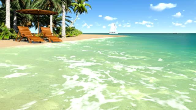 liegestühle und sonnenschirm auf einer tropischen strand - sonnenschirm stock-videos und b-roll-filmmaterial