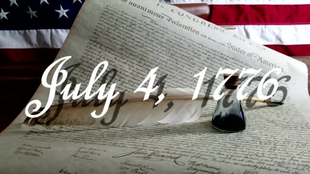 Declaration of Independence - USA American Declaration of Independence with modern American Flag in background.  Quill and antique ink bottle sitting on document.  July 4, 1776 in old English style penmanship scrolls up across document 3 times then remains at the end. fourth of july videos stock videos & royalty-free footage
