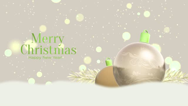 4K Decorated christmas globe ornament with Merry Christmas text. Christmas concept. Happy new year. Merry Christmas concept.
