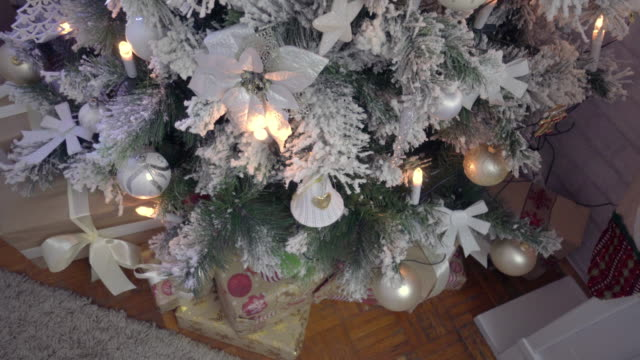 Decorated Christmas Tree Near Fireplace at Home