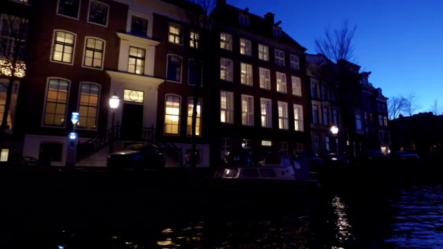 Decorated houses at christmas time in Amsterdam Netherlands at night video