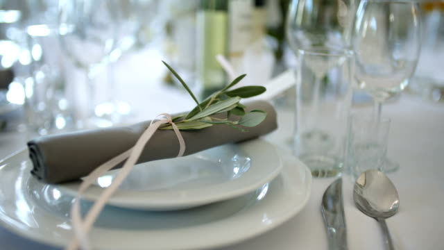 decorated table for a wedding dinner video