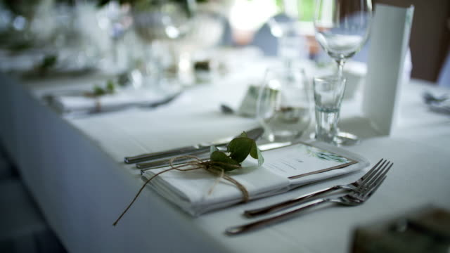 Decorated table for luxury, elegant dinner video