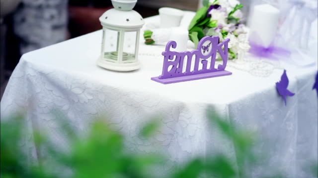 Decorated wedding table in the summer garden video