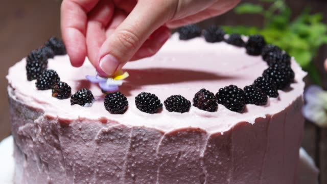 vídeos de stock e filmes b-roll de decorating homemade cake - bolo sobremesa