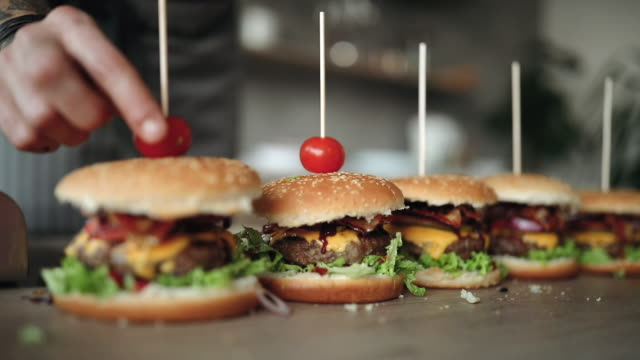 Video Decorating Tasty Hamburgers