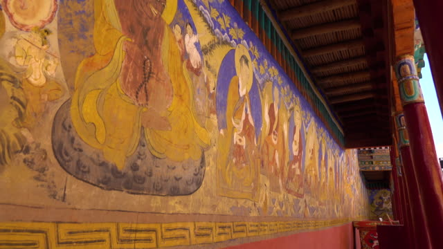 Decoration and arts in Thiksey Monastery or Thiksey Gompa at Leh Ladakh, Northern India video