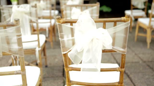 arredamento sedie per matrimonio - trillium video stock e b–roll