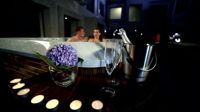 HD  CRANE: Decoration in fron of a jacuzzi video