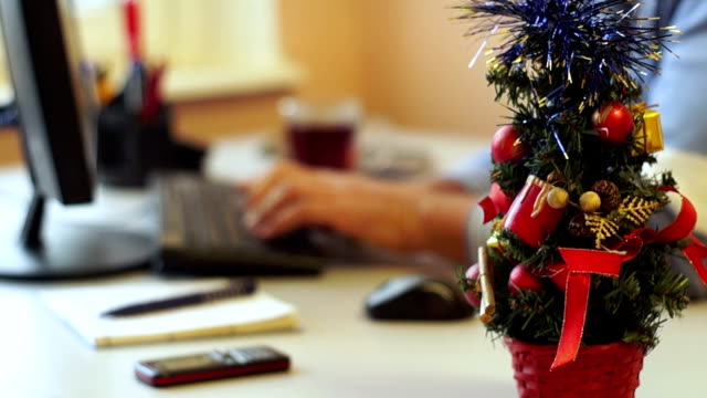 Decoration of the Office in Christmas Eve video