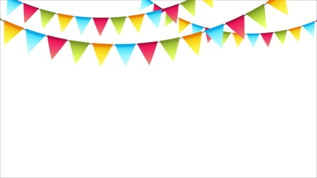 decorative colorful party pennants for birthday celebration, festival and fair decoration. carnival garland with flags. - banner internetowy filmów i materiałów b-roll