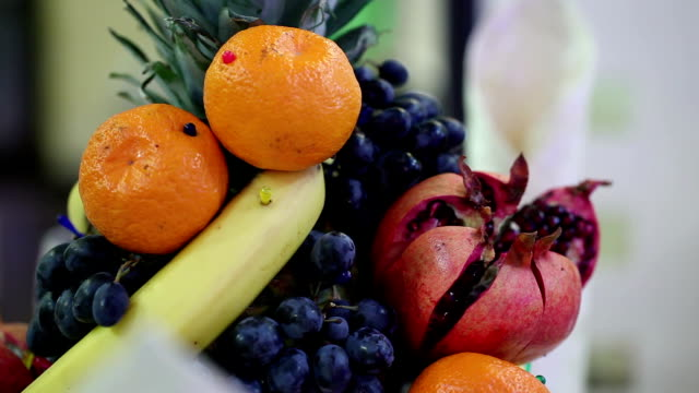 Decorative festive table with fruit video