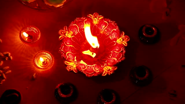 Decorative oil lamps on Diwali festival video