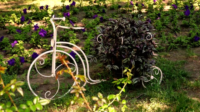 Decorative vintage garden bicycle. flower bed in the park, decorated with a composition in the form of a metal bicycle with a flower pot. summer sunny day in a park