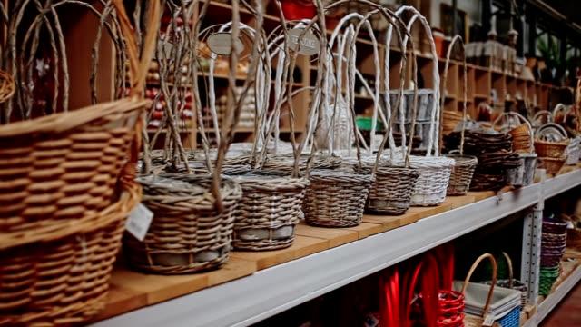 Decorative wicker baskets in store