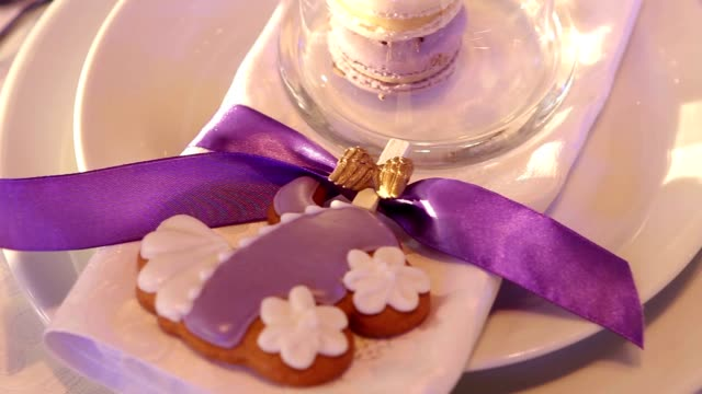 Decorativeon the banquet table, nobody, inside, indoors, close-up New Year, Christmas video
