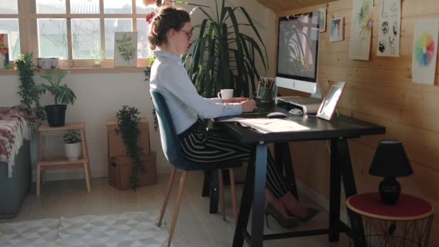 Dedicated Business Woman Working at Office Thoroughly