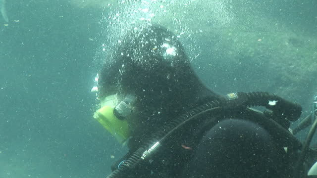 Deep sea diver - HD & PAL Stock video clip footage of a deep sea diver underwater  aqualung diving equipment stock videos & royalty-free footage