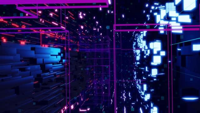 Deep tech or information technology concept. 3d looped background motion graphic. Blue dark sci fi bg flight through tech digital space, neon light. Hi-tech information flow in blockchain or bigdata. video