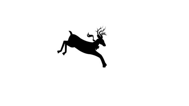 deer jumping animation loop - reindeer stock videos and b-roll footage