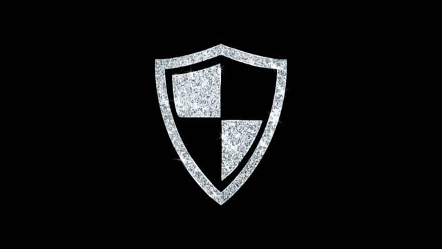vídeos de stock e filmes b-roll de defence, guard, protect, safety, shield icon shining glitter loop blinking particles . - escudo
