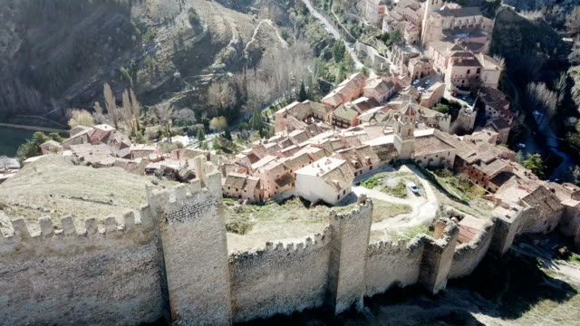 Defensive Northern wall of Albarracin on background