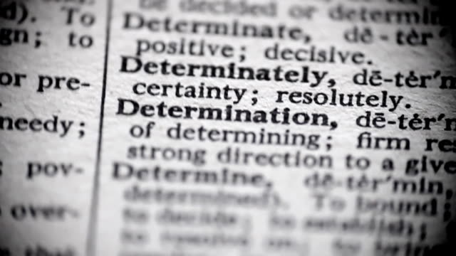 Definition of Determination video