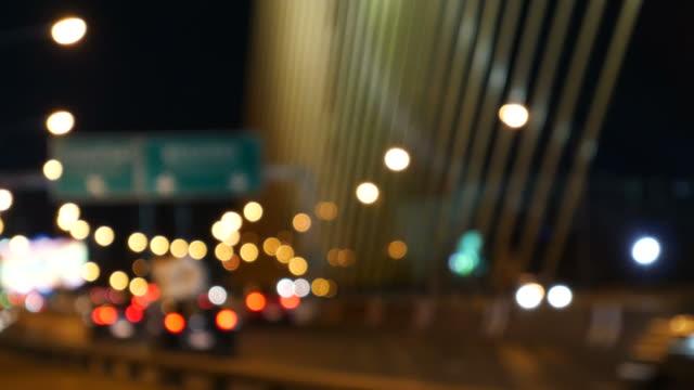Defocused of traffic on suspension bridge video