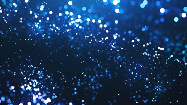 vídeos y material grabado en eventos de stock de partículas desenfocadas en cámara lenta - azul, agua, lluvia, nieve - animación de fondo abstracto - loopable - imagen en bucle