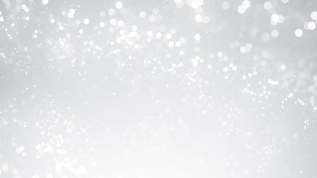 vídeos y material grabado en eventos de stock de partículas desenfocadas en cámara lenta - blanco, gris, color plata, brillante - animación de fondo abstracto - en bucle - gris