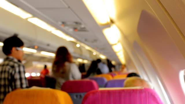 Defocused Passengers in Airplane. video