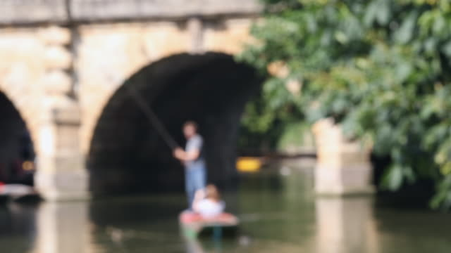 Defocused Sequence Of Boating In Punts On River Cherwell In Oxford video