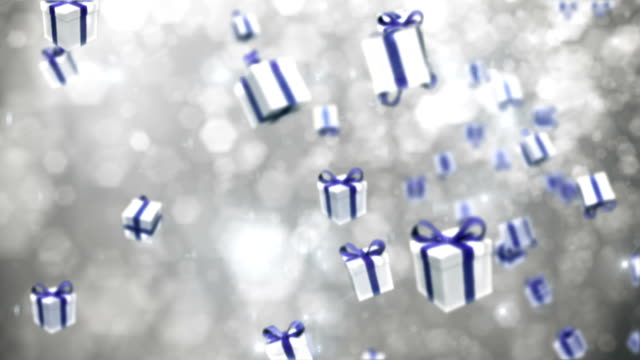 Defocused Silver Particles with Gift Boxes - Loopable video