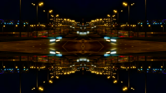 defocused , surreality abstract motion. kaleidoscope futuristic. time lapse of driving a car in the city at night time. pov. hyper laps in the evening downtown. timelapse. - узор калейдоскоп стоковые видео и кадры b-roll