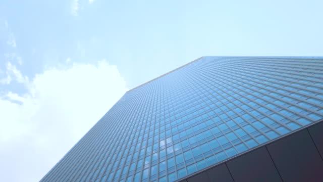 360度のビュー。東京の街並みオフィスビルと空の背景 - ローアングル点の映像素材/bロール