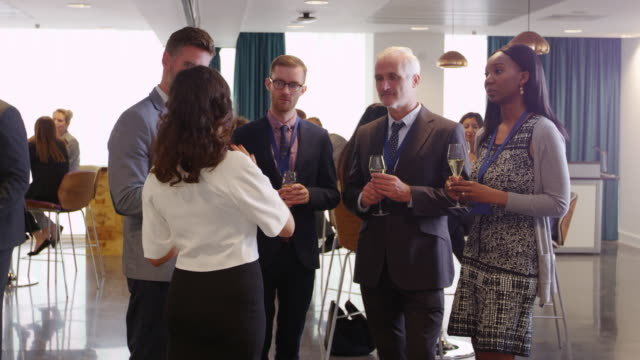 Delegates Network At Conference Drinks Reception Shot On R3D video