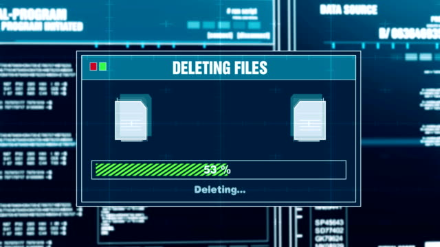 削除, ファイルの進行状況警告メッセージファイルを削除しました警告画面 - ファイル点の映像素材/bロール