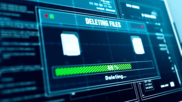 Deleting Files  Progress Warning Message  Files Deleted Alert on Screen , Computer Screen Entering System Login And Password Logging into Showing progress granted System Security. - vídeo