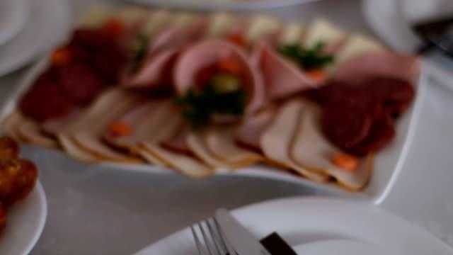 deli meat and cheese party - mortadella video stock e b–roll