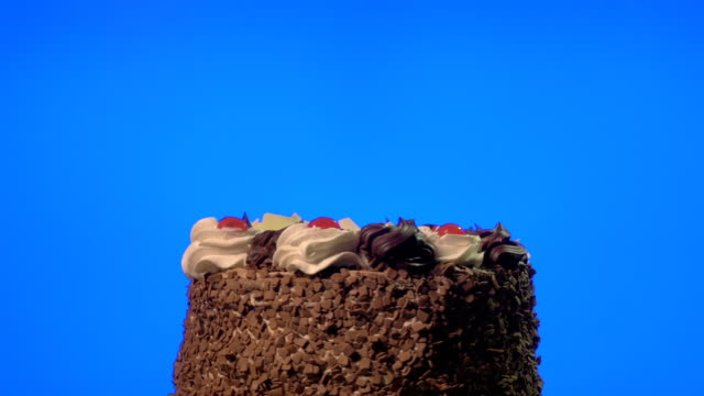 Delicious chocolate cake spinning on a blue screen video