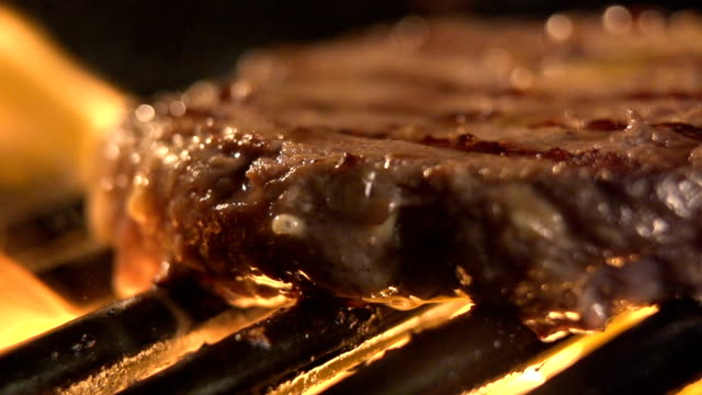 delicious fillet meat on the barbeque grill - alla griglia video stock e b–roll