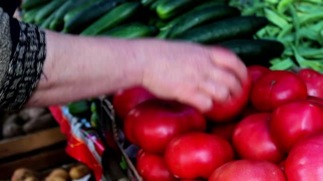 vídeos y material grabado en eventos de stock de cebolla fresca deliciosos pimientos y otras verduras con etiquetas de precios están en contra del mercado - pak choy