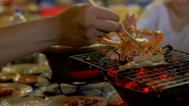 delicious grill fresh seafood BBQ delicious grill seafood BBQ arthropod stock videos & royalty-free footage
