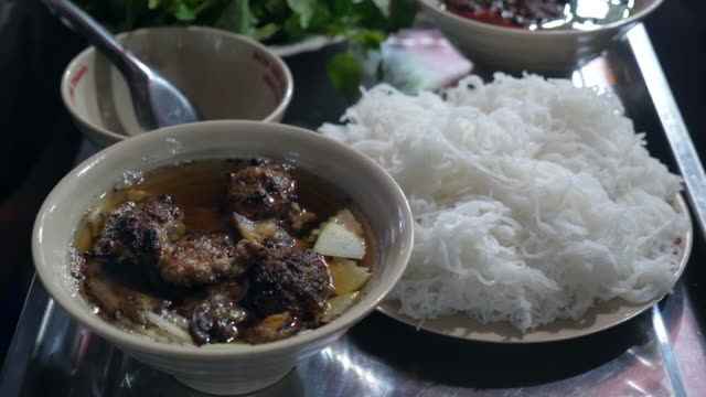 Delicious Grilled Pork in Hot Soup, Bun Cha, Famous Vietnam Food