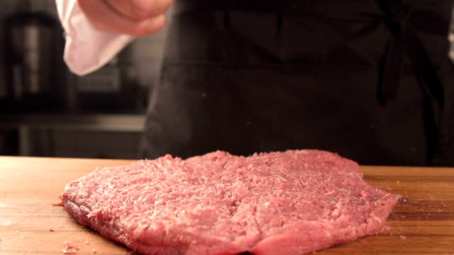 Delicious juicy piece of meat The chef makes a chop video