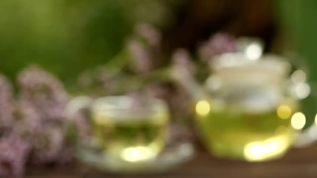 delicious  oregano tea in a beautiful glass bowl on table video